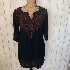Gretchen Scott Designs Black Embroidered Dress XS